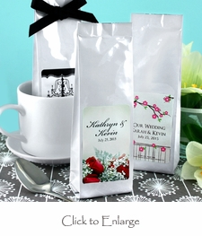 White Personalized Gourmet Coffee 2 oz. Soft Packs Wedding Favors
