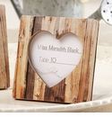 """Rustic Romance"" Faux Wood Heart Place Card Holder Frames"