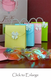 50 Pearl Handled Purse Favor Boxes DIY Kit - Assorted Colors