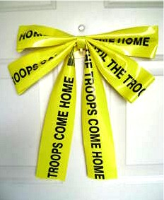 Yellow Till Troops Come Home Ribbon Bow