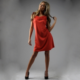** coral cowl neck bamboo dress