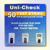 UNI CHECK GLUCOSE  TEST STRIPS , 50 / BOX