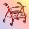 ROLLATORS WITH  SEAT<BR>FOLDING ALUMINUM