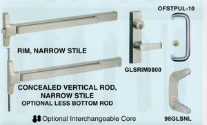 CAL ROYAL GLS9800EO36 RIM EXIT DEVICE FOR GLASS DOORS ( click here to view and buy item)