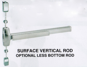 "CAL ROYAL 7760V3684 SURFACE MOUNTED VERTICAL ROD EXIT DEVICE FOR A 36"" X 84"" DOOR ( click here to view and buy item )"
