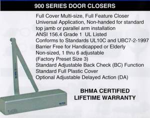 CAL ROYAL N900-PBF SERIES DOOR CLOSER (click here to view and buy item)