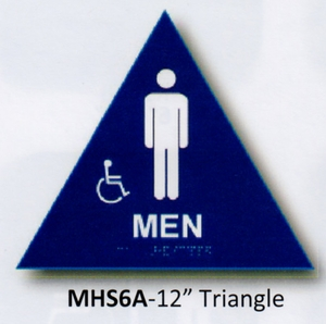 CAL ROYAL MHS-6A HANDICAPPED DOOR SIGN FOR MENS RR BLUE (click here to view and buy item)