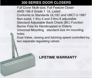 CAL ROYAL 300-PCOV SERIES DOOR CLOSER ALUM ( click here to view and buy item )