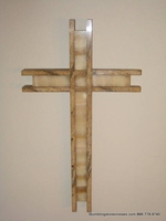 Wall Cross - Golden Brown Dimensional Outlined, Juparana and Onyx
