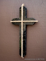 Brown Granite Wall Cross, Travertine Accents - Rounded Edges Dimensional