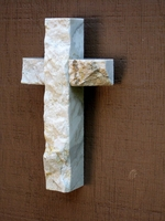 Small Wall Cross- White and GrayGranite  with Gold- Rough Face