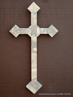 Travertine Wall Cross  Indoor / Outdoor -  Ivory,  Gray,  Medium Size