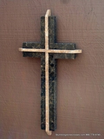 Brown Granite Wall Cross, Travertine Accents- Dimensional