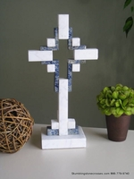 Standing Marble Cross for Tabletop - White with Blue, Hollow