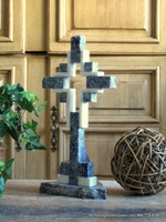 Standing Marble Cross for Tabletop  - Blue with White Hollow
