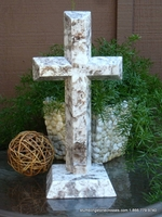 Standing Granite Cross for Tabletop -  White and Silver Angled