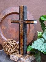 Standing Granite  Cross for Tabletop -  Golden Noir Outlined