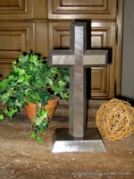Standing Granite Cross for Tabletop or Bookcase - Angled - Gray