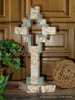 Standing Granite Cross for Tabletop - Tan with Sea Green