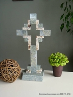Standing Granite Cross for Tabletop -  Sea Green with Tan