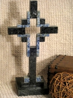 Standing Granite Cross for Tabletop - Black with Blue, Hollow