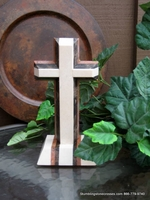 Standing Granite Cross for Tabletop � Layered 3 color, Angled