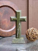 Standing  Granite Cross for Tabletop - Green  Angled Cut