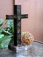 Standing Granite Cross for Tabletop - Crystals With Black