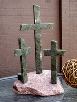 Lake Superior Stone, Three Crosses � Reddish Brown and Green