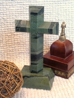 Standing Tabletop Granite Cross - Angled Cut , Camouflage