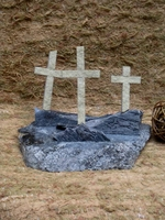 Three Crosses Standing Calvary Scene - Granite and Limestone