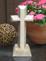 Standing Granite Cross- 2 Layerd Angled Outlined,  Meduim Taupe