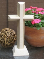 Standing Granite Cross- 2 Layered Angled - 2 Tone Tan