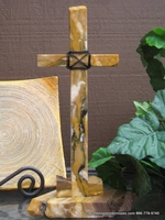 Standing Granite Cross for Tabletop - Gold and Mustard, Wire