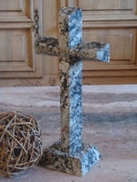 Standing Cross for Tabletop - Granite,  Gray Pebbles