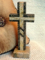 Standing Granite Cross - Tan and Brown Outlined With Inlay
