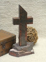 Standing Granite Cross - Outlined Red Dragon, Gray - Rock Base