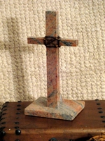 Small Standing Cross, Granite With Wire Wrap