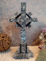 Standing Granite Celtic Cross, Tabletop - Gray and  Black 1