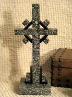 Standing Granite Celtic Cross, Tabletop - Gray and Black 2