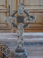 Standing Granite Celtic Cross for Tabletop - Gray and Taupe