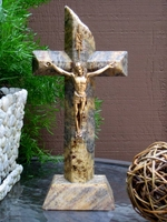 Standing Tabletop Granite Crucifix - Gold, Gray - Angled Cut