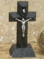 Standing Granite Cross- Black Angled Cut- Silver Crucifix