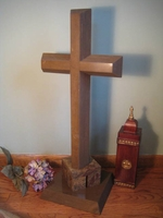 Oversize Standing Cross - Brentwood Sandstone With Rainforest Granite