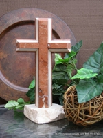 Standing Granite Cross for Tabletop - Terra Cotta, Ivory