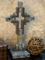 Standing Tabletop Granite Cross � Gray and Taupe Cross Within a Cross