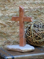 Standing Granite Cross- Terra Cotta Granite, North Shore Rock