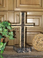 Standing Granite Cross for Tabletop - Brown  Outlined