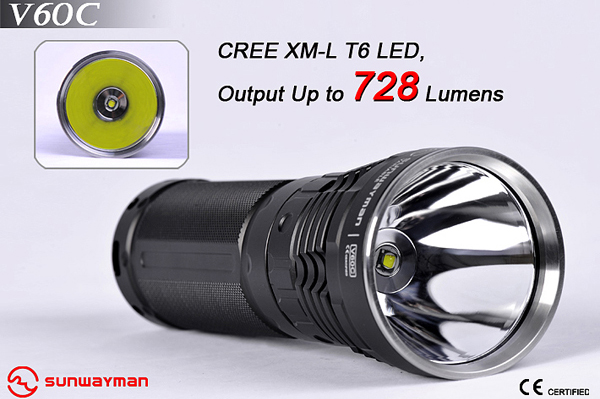 SUNWAYMAN V60C Rechargeable LED Flashlight - 728 Lumens - 3x18650 or 6xCR123/16340