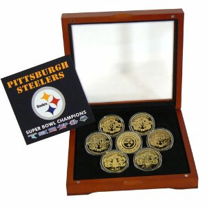 Steelers 24K Gold Six Time Super Bowl Champions 7 Coin Set